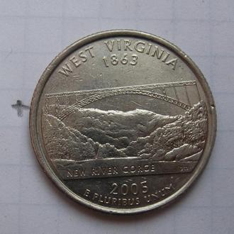 """США, 25 центов 2005 г. (ЗАПАДНАЯ ВИРДЖИНИЯ) """"Д""""."""