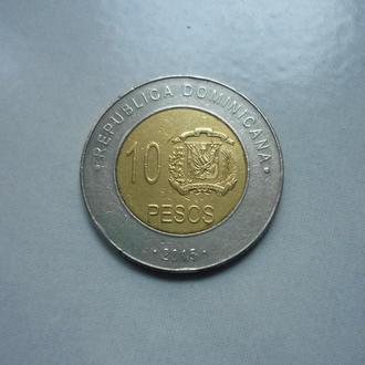 Доминиканская Республика 10 песо 2015 биметалл