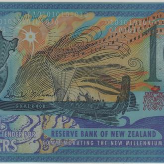 Новая Зеландия 10 долларов 2000 г. в UNC красный номер