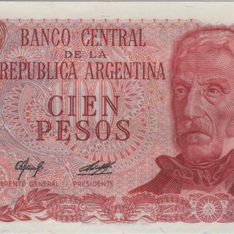 Аргентина 100 песо 1976г. в UNC из пачки