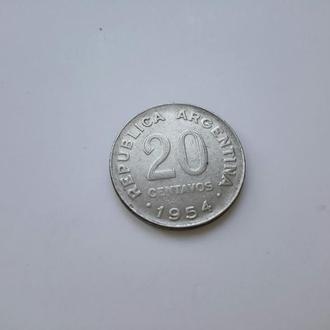 Аргентина. 20 сентаво 1954 год.