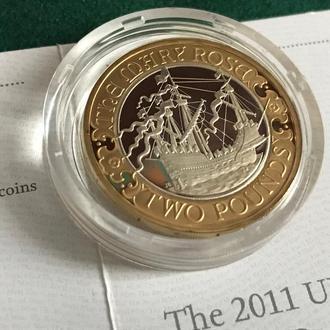 Великобритания 2 фунта 2011 Серебро позолота 500-летие первого плавания Мэри Роуз коробка сертификат