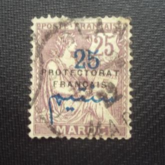 Марокко 1914г.гаш. Колонии Франции. надпечатка.