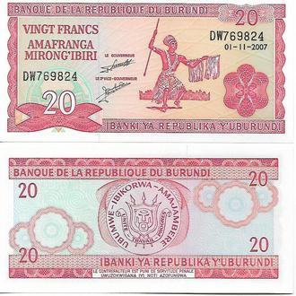 Бурунди, 20 франков, 2007 год UNC Пресс