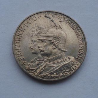 1901 г - 5 марок Германия,200 лет династии,серебро