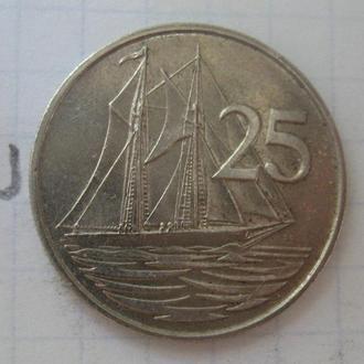 КАЙМАНОВЫ ОСТРОВА. 25 центов 1982 г. (ШХУНА).