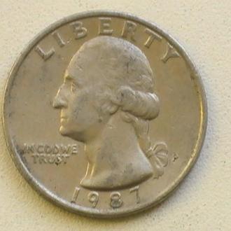 25 Центов 1987 г США Квотер 25 Центів 1987 р США