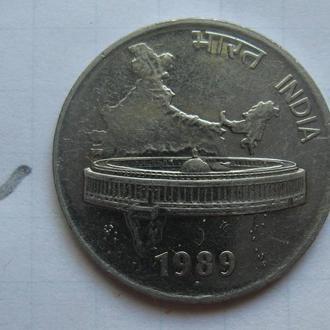 ИНДИЯ 50 пайса 1989 г. (КАРТА ИНДИИ).