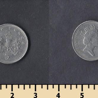 Великобритания 5 пенсов 1991