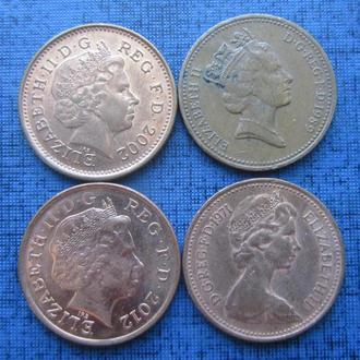 4 монеты по 1 пенни Великобритания разные одним лотом