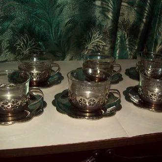 Подстаканники набор 6 шт.с стаканами СССР