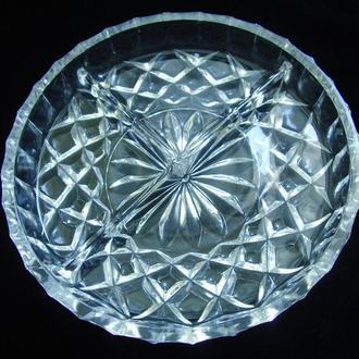 Хрустальная менажница тарелка Ассорти