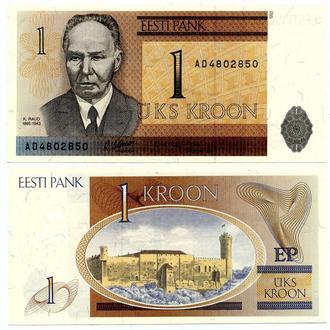 Эстония 1 крона 1992 UNC