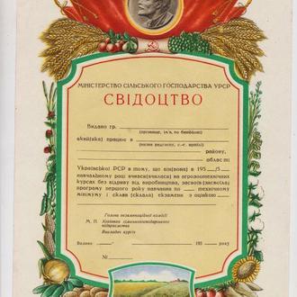 СВІДОЦТВО - СВИДЕТЕЛЬСТВО об учебе = МИНИСТЕРСТВО СЕЛЬСКОГО ХОЗЯЙСТВА  УССР = 1950-е гг. =