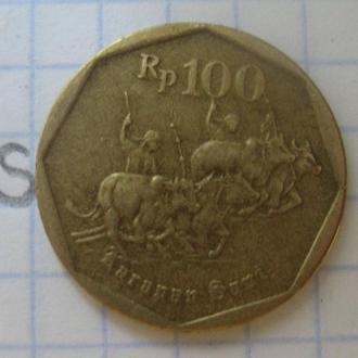 ИНДОНЕЗИЯ, 100 рупий 1995 года (погонщики буйволов).