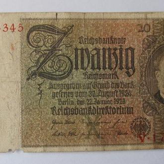 ГЕРМАНИЯ 20 рейхсмарок 1929 год