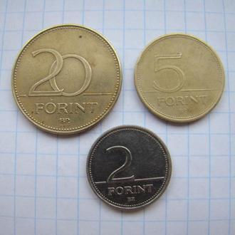2 форинта 2002 г. и   5, 20 форинтов 1994 г., Венгрия.