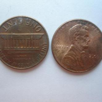США 1 цент-2 монеты