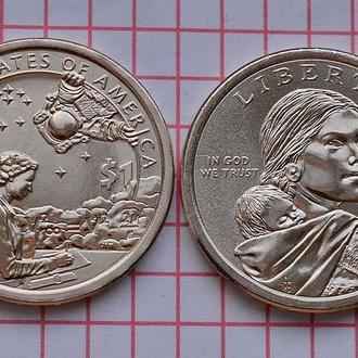 """1 доллар США """"Коренные Американцы"""" - Индейцы в космосе 2019 г"""