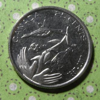 Канада 2017 год монета 25 центов квотер !