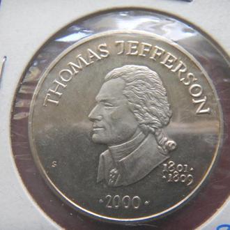 Либерия 5 долларов 2000 Президент США Джефферсон