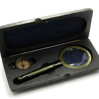 Лупа с компасом в деревянном футляре