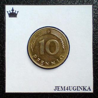 Германия. 10 пфеннигов 1989 г. ( G )  XF
