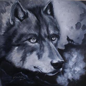 Волк картина масло холст 85х90 см