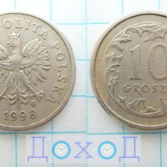 Монета Польша 10 грошей 1998 Медно-никелевый сплав немагнит №1