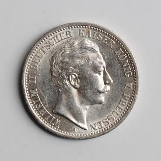 Пруссия 2 марки 1908 г., UNC, 'Король Вильгельм II (1888 - 1918)'