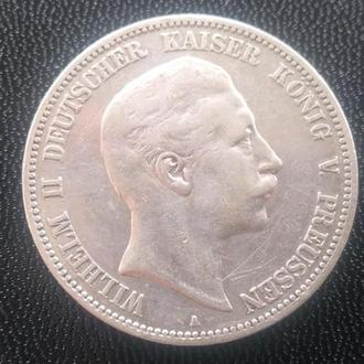 Пять Марок Германия Пруссия Серебро 1903 год.