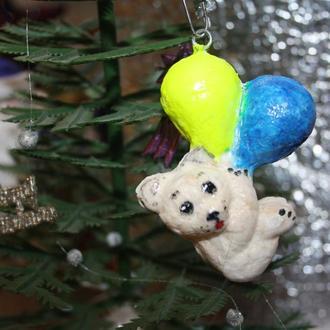 Елочные ватные игрушки Белые мишки