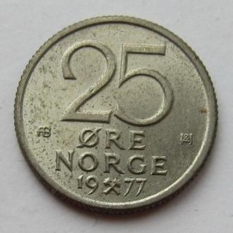 Норвегия 25 эре 1977 (KM#417)