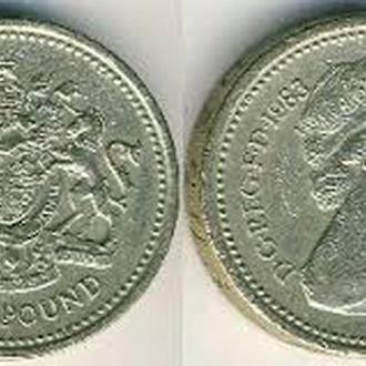 Один фунт стерлингов (монета) ONE POUND 1983 DG REG FD 1983 elizabeth 2