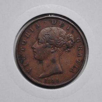 Великобритания 1 пенни 1854 г., 'Королева Виктория (1838-1901)', РЕДКАЯ + СОСТОЯНИЕ