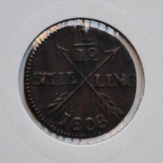 Швеция 1/12 скиллинга 1808 г., 'Король Густав IV Адольф (1792-1809)', РЕДКАЯ + СОСТОЯНИЕ