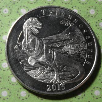 Майотта 2015 год монета 1 франк динозавр !