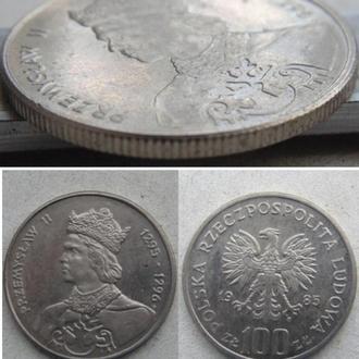 Польша 100 злотых, 1985г.  Польские правители - Король Пшемыслав II. Медно-никелевый сплав