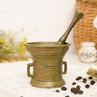 Старая бронзовая ступа, ступка для специй, с пестиком, бронза, Германия  0123 бр