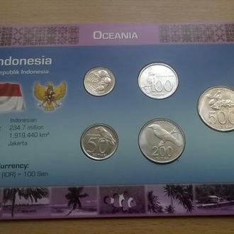 Набор монет ИНДОНЕЗИЯ пластик картон блистер запайка набір ІНДОНЕЗІЯ