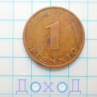 Монета Германия ФРГ 1 пфенниг 1979 D Бавария Сталь с медным покрытием магнит