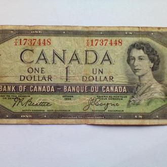 1 доллар -  Канада 1954 рік, зустрічаєтся рідко з підписами Beattie - Coyne