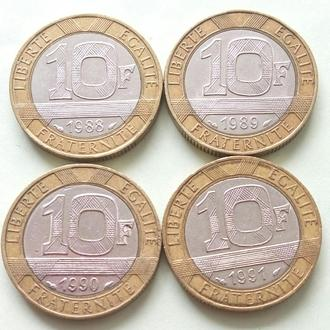 (А) Франция 10 франков 4 шт Все Разные
