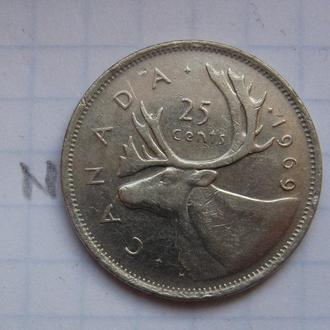 КАНАДА, 25 центов 1969 года.