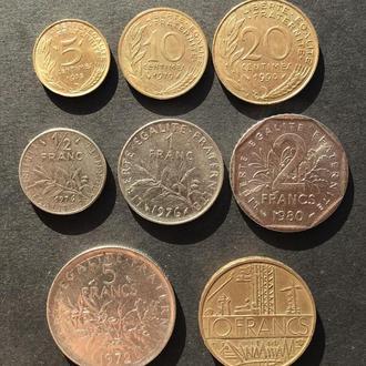 Набор монет Франции, 5,10,20 сантимов, 1/2, 1,2,5,10 франков. Н2