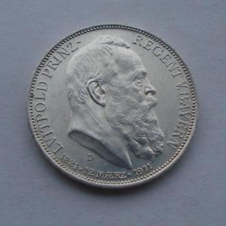 1911 г - 3 марки Германия,Бавария,серебро № 6