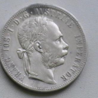1 Флорін 1876 р Срібло Австрія 1 Флорин 1876 г Серебро Австрия 1 Гульден