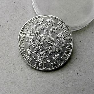 Австро Венгрия 1 флорин 1880 серебро сохран aUNC !