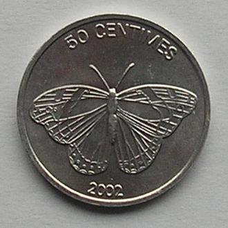 Конго 50 сантим 2002 редкая