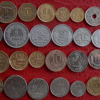 Подборка из 34 монет Франции без повторов.